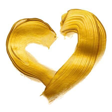 Gold paint heart hand brush stroke design element isolated on white background.