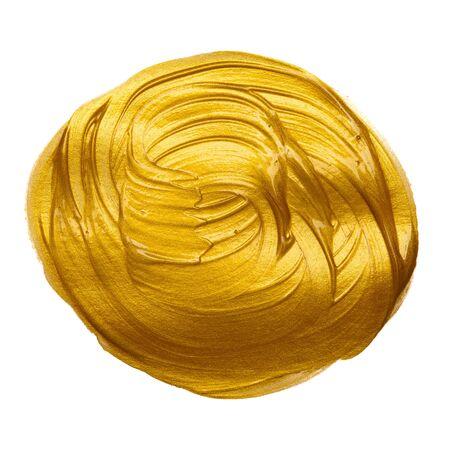 Gold paint hand brush circle round stroke design element isolated on white background.