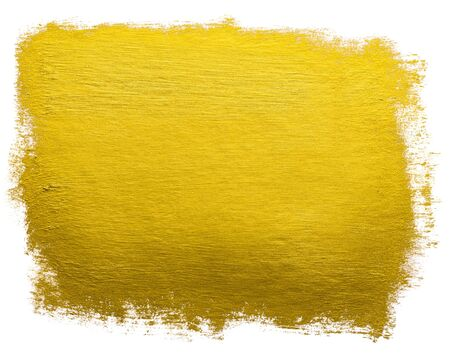 Gold paint wide brush stroke metallic foil color design element isolated on white background.