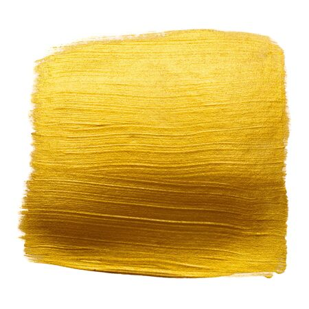 Gold metallic foil paint hand brush stroke smudge design element isolated on white background.