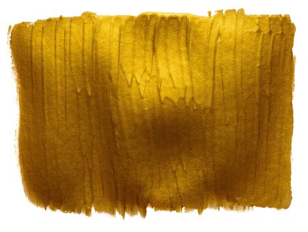 Gold paint hand wide brush strokes design element isolated on white background.