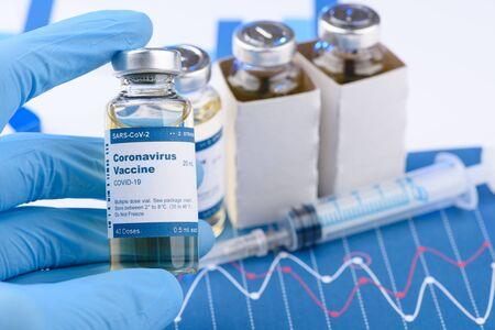Coronavirus COVID-19 vaccine vial concept. Research for new novel corona virus immunization drug.