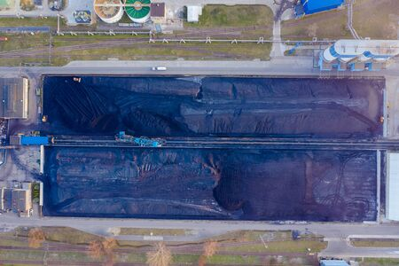 Coal storage for coal power plant, aerial drone view