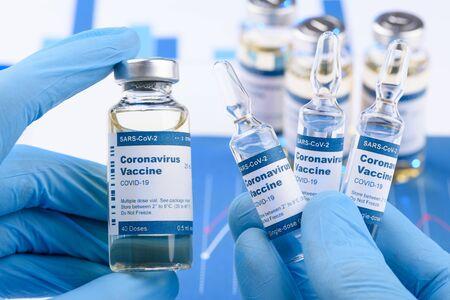 Coronavirus COVID-19 single dose small vials and multi dose in scientist hands concept. Research for new novel corona virus immunization drug.