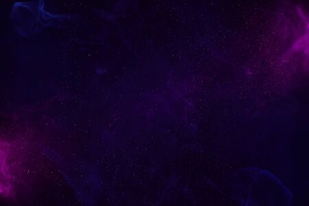 Colorful magic cosmos clouds with glitter stardust abstract background Imagens