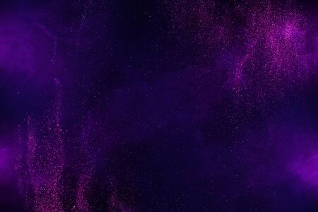 Explosion of shiny colorful dust and smoke abstract background Imagens