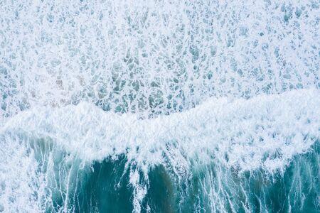 Ocean waves aerial drone top view