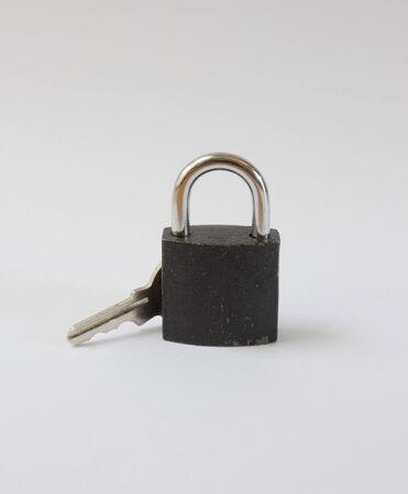 iron key lock  for safe on isolated photo
