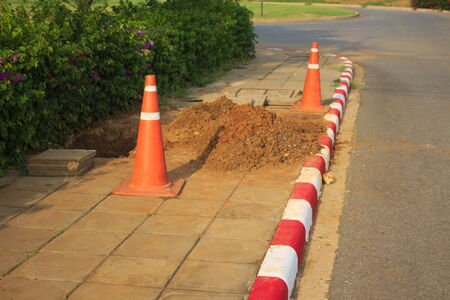 trafic stop: zone cone red  construction roadblock danger caution Stock Photo