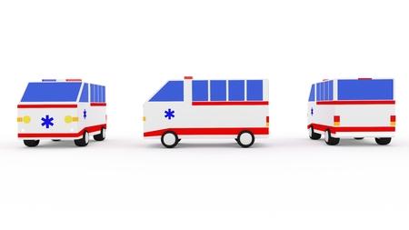 ambulancia: Van ambulancia 3D sobre fondo blanco aislado