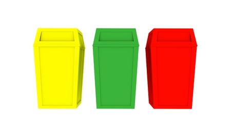3D bin recycleer reeks kleurrijke geel groen rood op geïsoleerde achtergrond Stockfoto