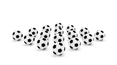 dozen: Football soccer dozen  isolated white background 3D Render Stock Photo