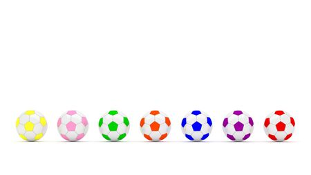 multi color: soccer football colorful multi color isolated white background 3D render