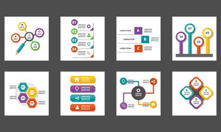 8 colorful multipurpose Presentation template flat design set