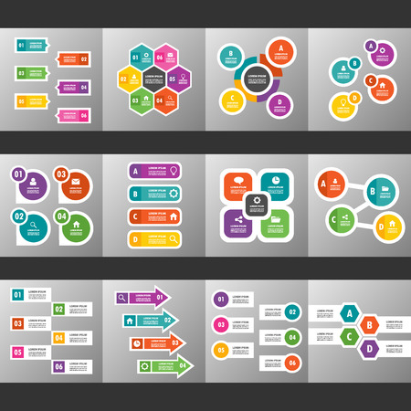 12 colorful multipurpose Presentation template flat design set