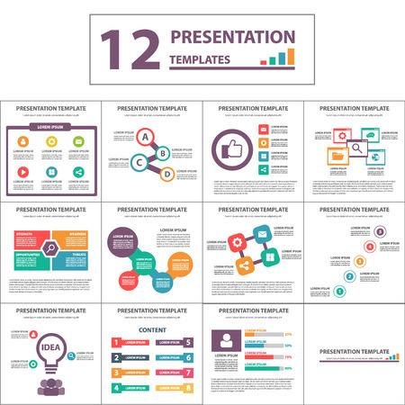 Multicolor multipurpose Presentation template flat design set