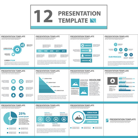 presentation people: Blue multipurpose Presentation template flat design set