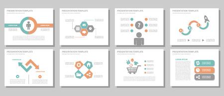 presentation icon: Orange and green multipurpose presentation template flat design for brochure flyer