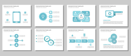 presentation people: Blue multipurpose presentation template flat design for brochure flyer Illustration