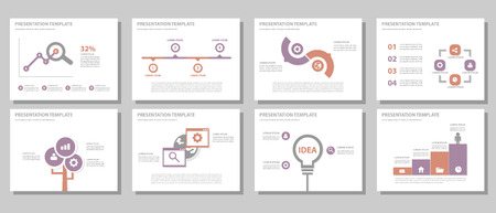presentation people: Purple and red multipurpose presentation template flat design for brochure flyer