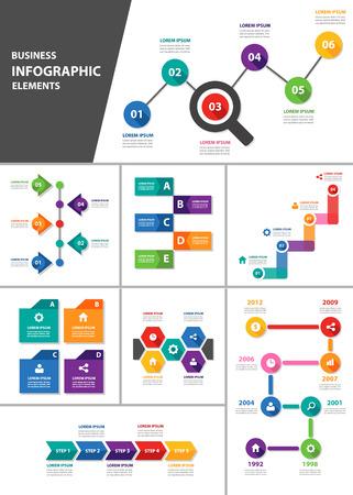business process diagrams: Business multipurpose presentation template flat design for brochure flyer