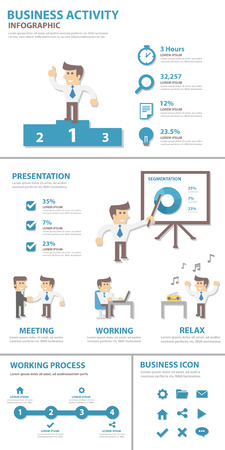 powerpoint: Business ctivity multipurpose presentation infographic flat design for brochure flyer Illustration