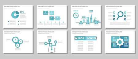 powerpoint: Blue multipurpose presentation template flat design for brochure flyer Illustration