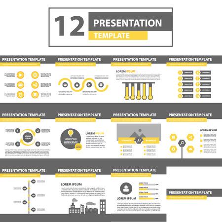 sjabloon: Geel en zwart multifunctionele presentatiesjabloon plat ontwerp voor brochure flyer Stock Illustratie