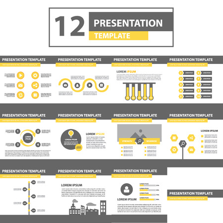 presentation icon: Yellow and black multipurpose presentation template flat design for brochure flyer