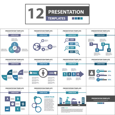 presentation people: Purple and blue multipurpose presentation template flat design for brochure flyer