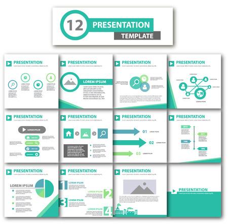 presentation template: Green multipurpose presentation template flat design for brochure flyer