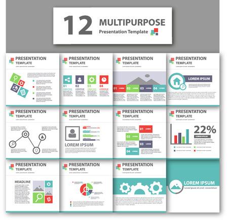 sjabloon: Multicolor multipurpose presentatiesjabloon plat ontwerp voor brochure flyer Stock Illustratie