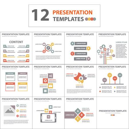 color multipurpose presentation template flat design element for brochure flyer