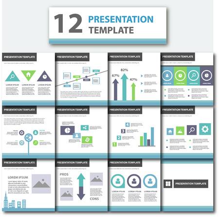 sjabloon: Blauw en groen multifunctionele presentatiesjabloon platte design element voor brochure flyer