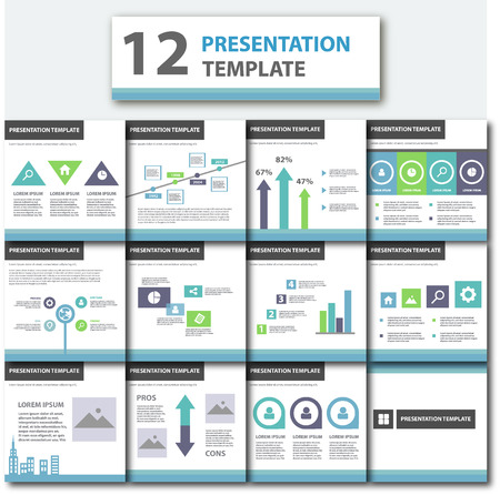 presentation template: Blue and green multipurpose presentation template flat design element for brochure flyer
