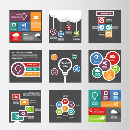 パンフレット チラシのインフォ グラフィック多目的プレゼンテーション テンプレート フラットなデザイン要素  イラスト・ベクター素材