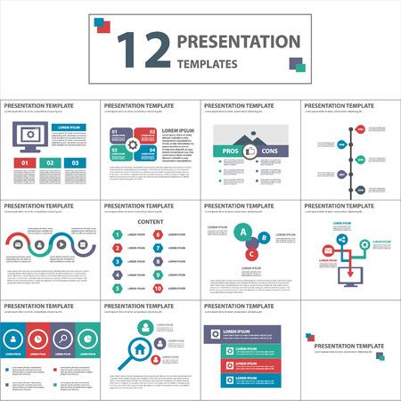 red blue green multipurpose presentation template flat design element for brochure flyer