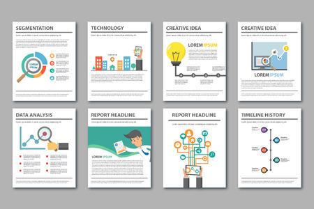 sjabloon: Platte design thema Multipurpose presentatiesjabloon element voor brochure flyer