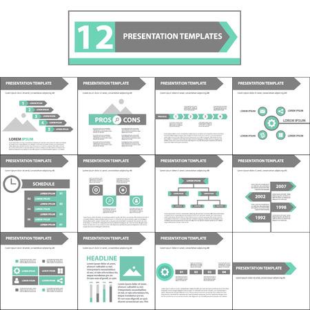 website design: green and black multipurpose presentation template flat design element for brochure flyer Illustration