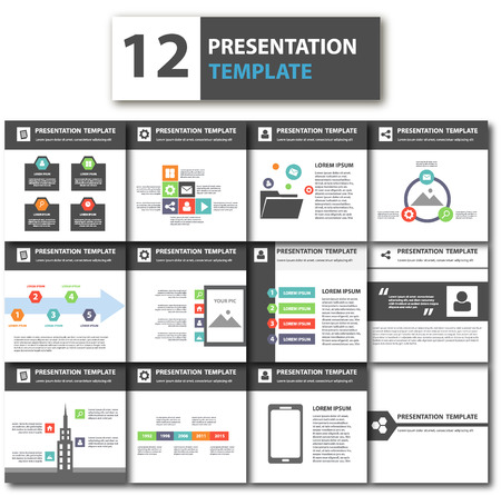 magazine design: Black theme multipurpose presentation template flat design element for brochure flyer Illustration