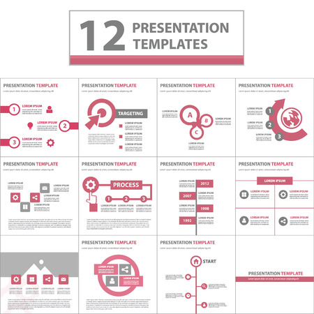 poster template: Red multipurpose presentation template flat design element for brochure flyer brochure