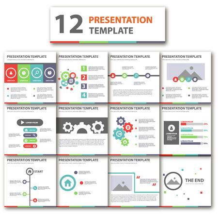 presentation template: colorful multipurpose presentation template flat design element for brochure flyer brochure