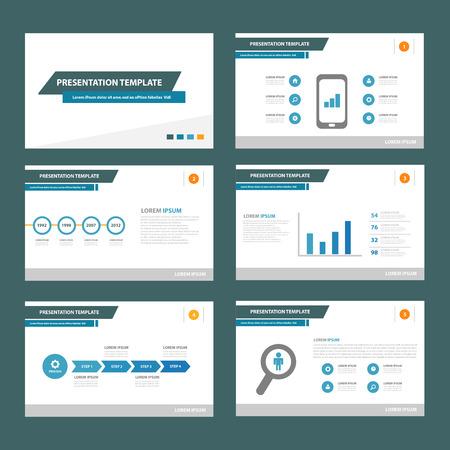 colorful slide: Blue brochure flyer template for advertising marketing and presentation