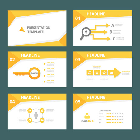 presentation people: Yellow brochure flyer template for advertising marketing and presentation Illustration