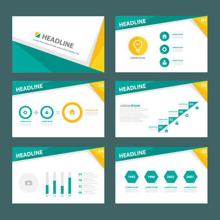 magazine layout: Green and yellow brochure flyer template for advertising marketing and presentation