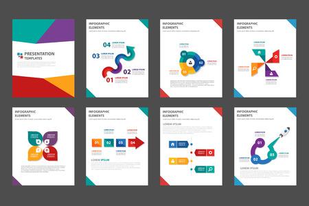 folleto: 8 moderno colorido plantilla de presentación polivalente conjunto diseño plano para el aviador folleto de marketing folleto y publicidad