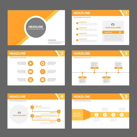 graphic presentation: Orange multipurpose presentation template flat design set for brochure flyer leaflet marketing and advertising Illustration