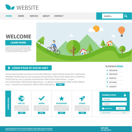 vector web design elements: Blue Multipurpose website template flat design