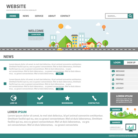 website design: Green Multipurpose website template flat design Illustration