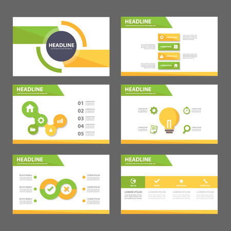 presentation: Green and yellow infographic element for presentation brochure flyer leaflet flat design